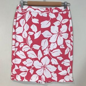 Old navy tropical hibiscus print pink skirt